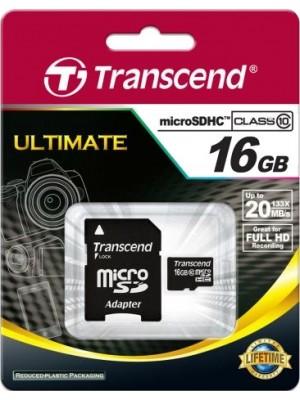 Transcend microSDHC 16 GB Class 10 + SD adapter