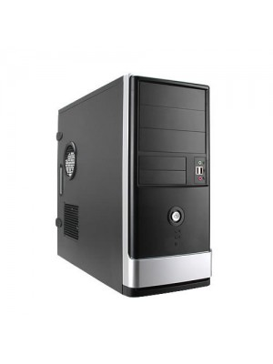 Корпус InWin ATX Miditower EA002 Black/Silver, 400W 12cm fan, 2xUSB2.0, Mic-in, Line-out