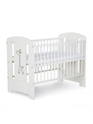 Кроватка Klups Сафари/Жираф белая с ящиком