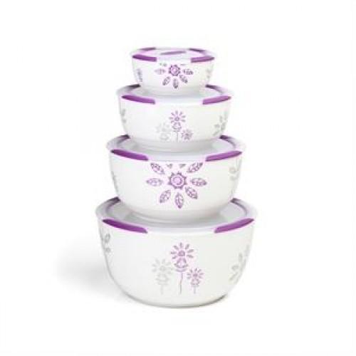 Oursson Набор керамических контейнеров CC5980R/WV (Белый с пурпурным)